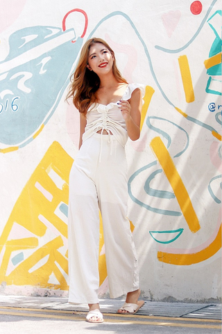MADDIE 2-PIECE RUFFLES LINEN SET (WHITE) *RESTOCKED*