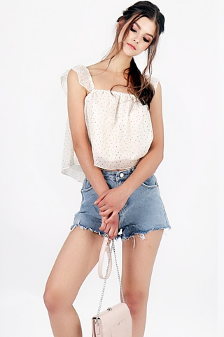 ELSIE DOTTED RUFFLES TOP (OFF-WHITE) *RESTOCKED*