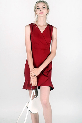 SKYLER RUFFLES V-NECK DRESS (WINE RED)