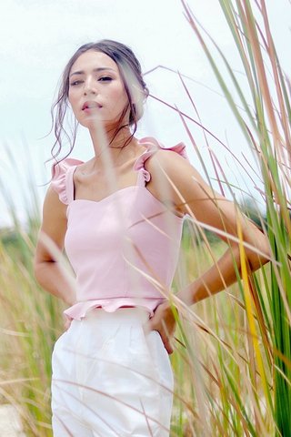 FALLON RUFFLES CROP TOP #MADEBYLOVET (DUSTY PINK)