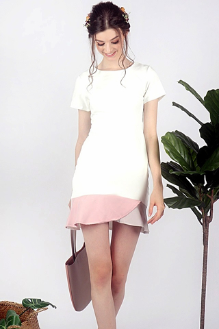 PHOEBE PASTEL COLORBLOCK TRUMPET DRESS (WHITE) *RESTOCKED*