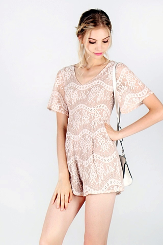 PAIGE V-NECK LACE ROMPER (NUDE) *RESTOCKED*