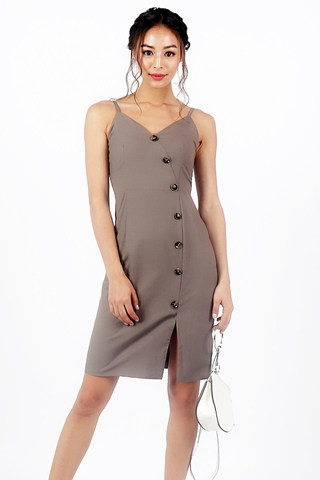 MAGELYN BUTTON DOWN SIDE SLIT DRESS (TAUPE)