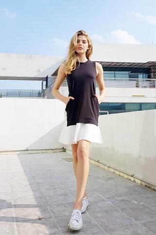 ARIANA FAUX 2-PIECE OVERLAY DRESS #MADEBYLOVET (BLACK/WHITE)