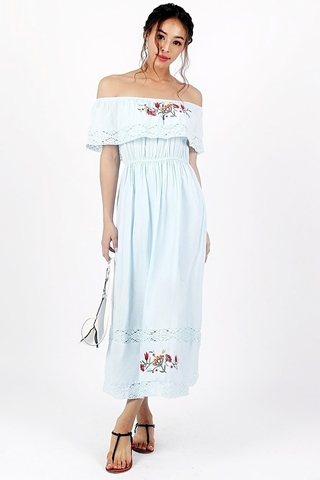 PAULA EMBROIDERY BOHEMIAN MAXI DRESS (PASTEL BLUE)