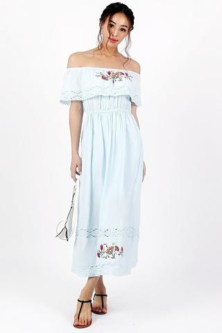 PAULA EMBROIDERY BOHEMIAN MAXI DRESS (PASTEL BLUE)