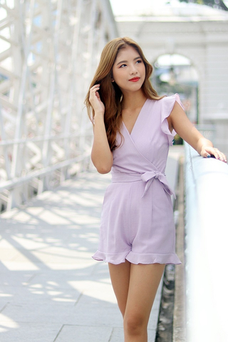 AUTUMN V-NECK RUFFLES ROMPER WITH SASH (LILAC)