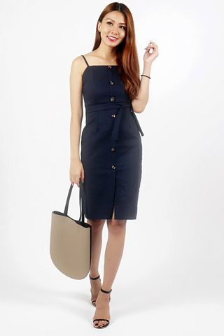 KINSLEY BUTTON DOWN SLIT DRESS WITH SASH (NAVY)