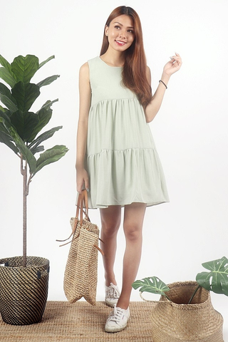 FREYA BABYDOLL TIER DRESS #MADEBYLOVET (PASTEL GREEN)