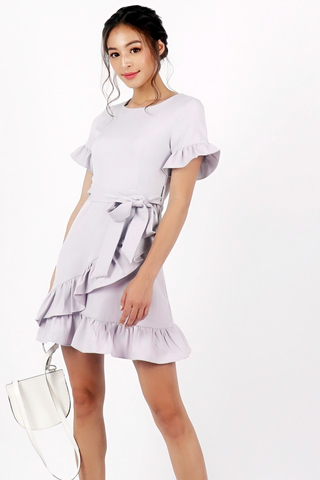 BRIELLE PASTEL RUFFLE DRESS WITH SASH #MADEBYLOVET (LILAC)