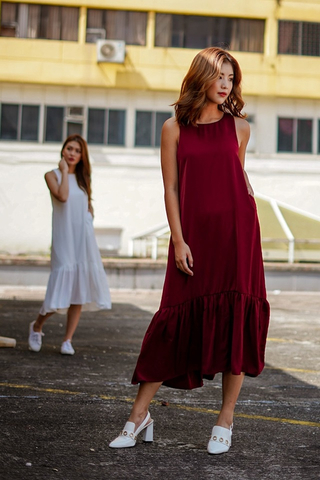 ABIGAIL DROPWAIST MIDI DRESS #MADEBYLOVET (WINE)