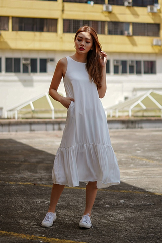 ABIGAIL DROPWAIST MIDI DRESS #MADEBYLOVET (WHITE)