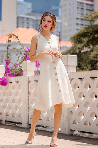 GLORIA LINEN BUTTON DOWN MIDI DRESS #MADEBYLOVET (IVORY)