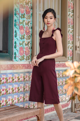 ALEXIS RUFFLES BUTTON JUMPSUIT (BURGUNDY)
