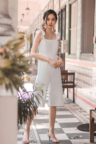 ALEXIS RUFFLES BUTTON JUMPSUIT (WHITE)