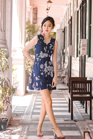 LELAND FLORAL BUTTON DOWN DRESS #MADEBYLOVET (NAVY)