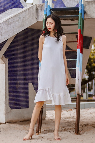 BRIANNA ASYMMETRICAL DROPWAIST DRESS #MADEBYLOVET (WHITE)