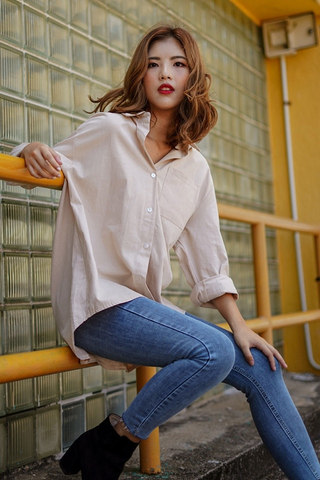 CALLISTO LINEN BUTTON BOYFRIEND SHIRT (SAND) *RESTOCKED*