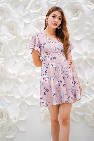 CHANTELLE EYELET FLORAL DRESS #MADEBYLOVET (TAUPE PINK)