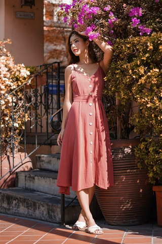CHRISTINE LINEN BUTTON MIDI DOWN DRESS WITH SASH #MADEBYLOVET (RUST)
