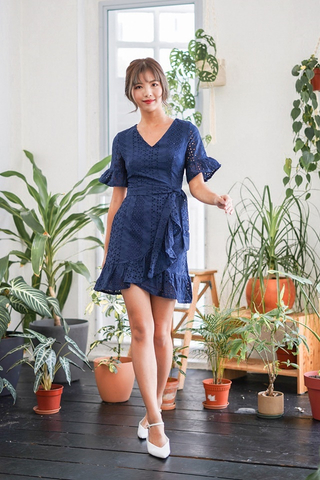 CHRISTY EYELET V-NECK RUFFLES DRESS (NAVY)
