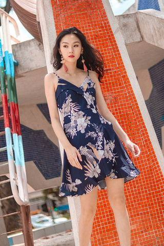 CLAIRE FLORAL RUFFLES SPAG WRAP DRESS #MADEBYLOVET (NAVY) *RESTOCKED*