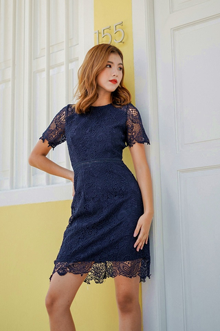 DAWN SLEEVE INTRICATE CROTCHET DRESS (NAVY)