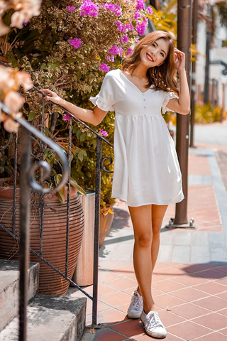 DIANE BABYDOLL TUNIC DRESS (WHITE)