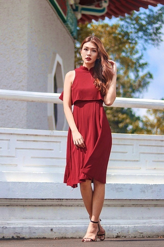 ESTELLE MANDARIN COLLAR LAYERED DRESS (WINE)
