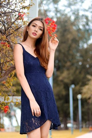 TAYLOR LACE OVERLAP DRESS (NAVY)