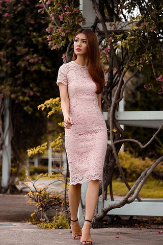 SOPHIA INTRICATE LACE MIDI DRESS (DUSTY PINK)