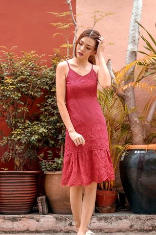 THALASSA EYELET DROPWAIST DRESS (RASPBERRY)
