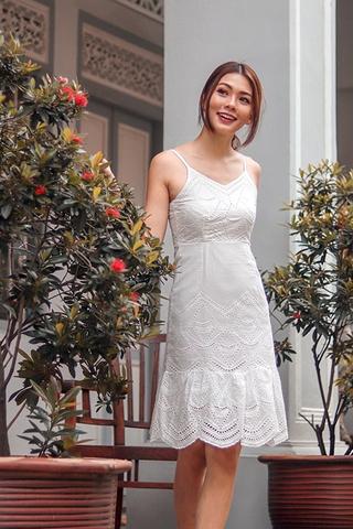THALASSA EYELET DROPWAIST DRESS (WHITE)