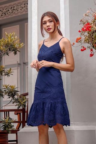 THALASSA EYELET DROPWAIST DRESS (NAVY)