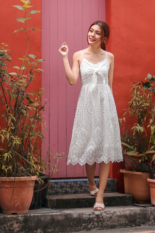 VIOLET TIE-KNOT EYELET DRESS (WHITE)