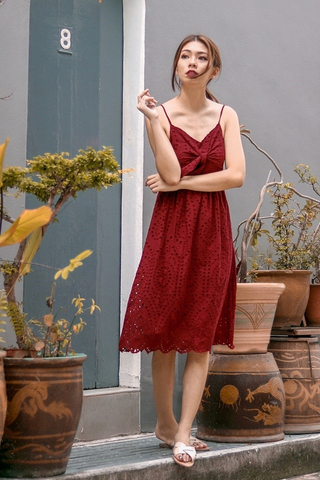 VIOLET TIE-KNOT EYELET DRESS (WINE) *CNY SPECIAL*