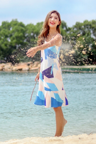 ROZARIO GEOMETRIC PRINT DROPWAIST DRESS #MADEBYLOVET (BLUE)