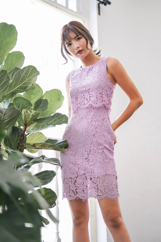 GLENDA LAYERED LACE DRESS (LILAC)