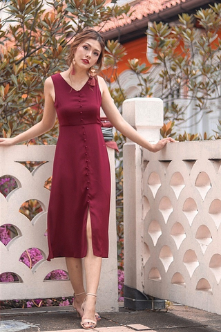 ALDEN BUTTON MIDI SLIT DRESS #MADEBYLOVET (WINE)