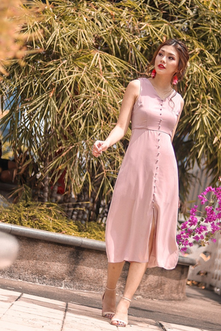 ALDEN BUTTON MIDI SLIT DRESS #MADEBYLOVET (POWDER PINK)