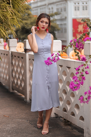 ALDEN BUTTON MIDI SLIT DRESS #MADEBYLOVET (PASTEL GREY)