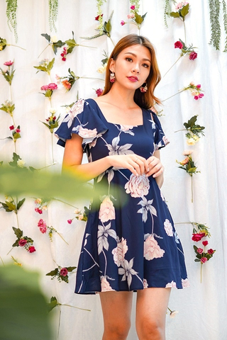 INNIS SQUARE NECK FLORAL DRESS #MADEBYLOVET (NAVY)