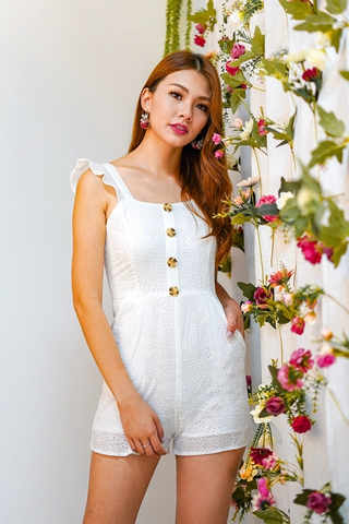 JACE EYELET BUTTON ROMPER (WHITE)