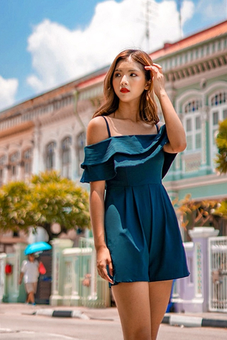 JANELLE DROP-SHOULDER ROMPER (EMERALD)