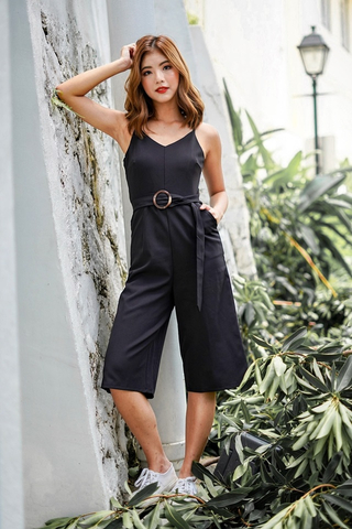 JESSIE CULOTTE JUMPSUIT WITH BELT (BLACK)