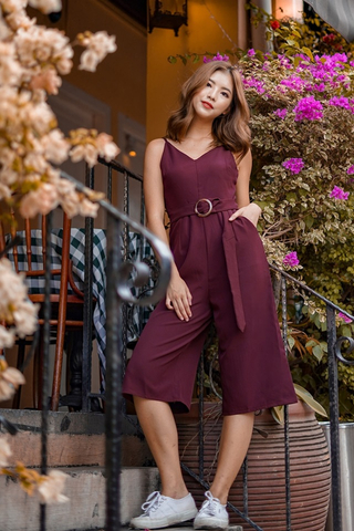JESSIE CULOTTE JUMPSUIT WITH BELT (BURGUNDY)