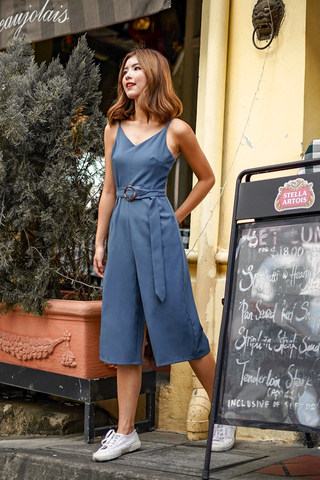 JESSIE CULOTTE JUMPSUIT WITH BELT (ASH BLUE)