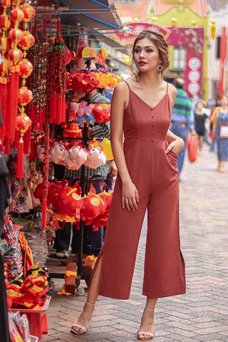 KENNEDY BUTTON SLIT JUMPSUIT #MADEBYLOVET (TERRACOTA)