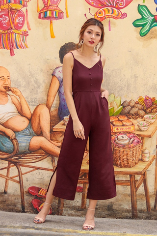KENNEDY BUTTON SLIT JUMPSUIT #MADEBYLOVET (BURGUNDY)