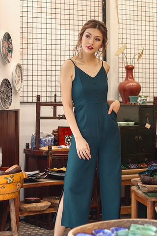 KENNEDY BUTTON SLIT JUMPSUIT #MADEBYLOVET (EMERALD)